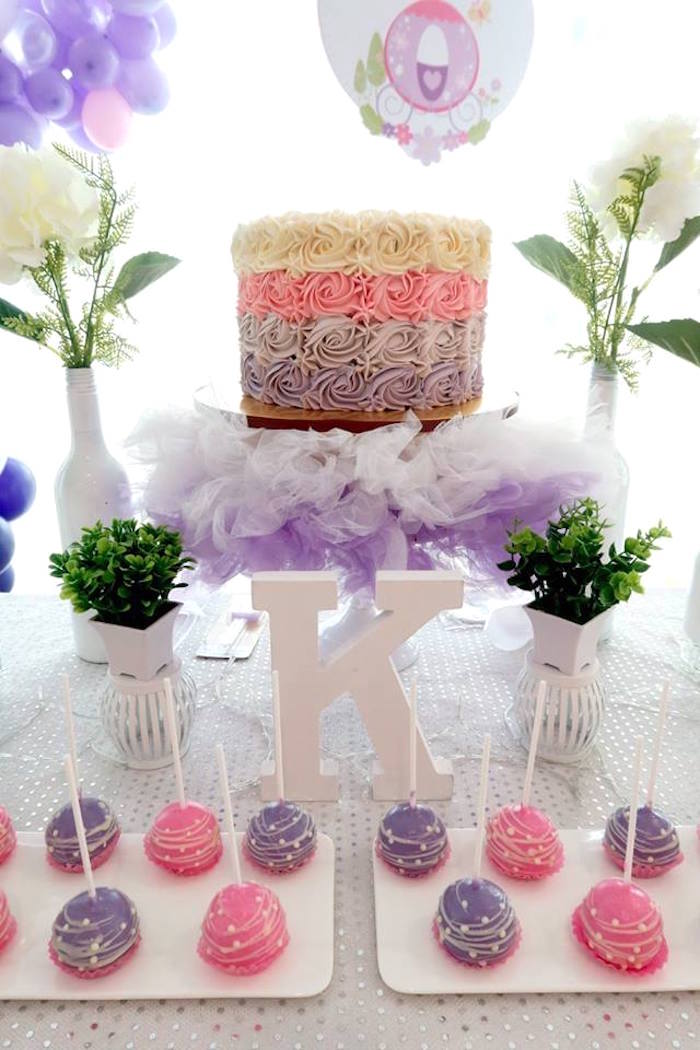 Cakescape from a Floral Sofia The First Birthday Party on Kara's Party Ideas | KarasPartyIdeas.com (26)