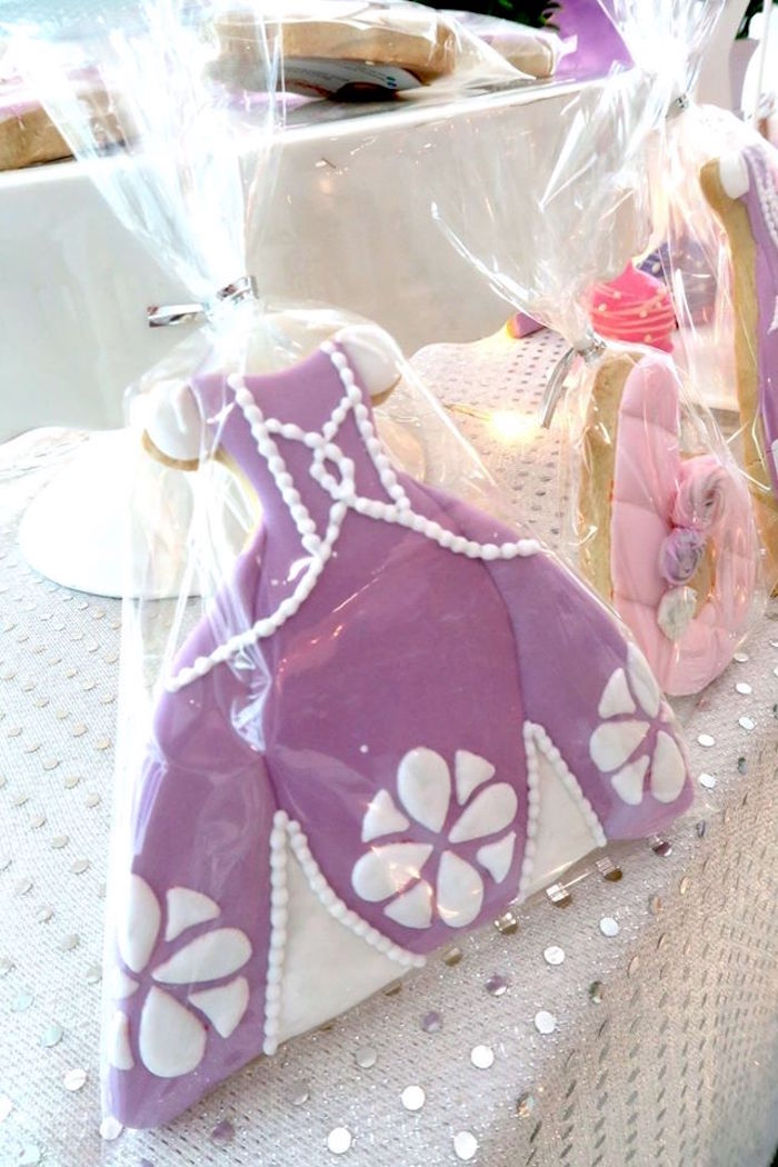 Sofia's Dress Cookie from a Floral Sofia The First Birthday Party on Kara's Party Ideas | KarasPartyIdeas.com (7)