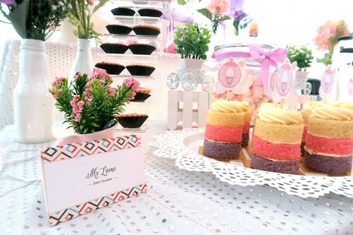 Mini cakes from a Floral Sofia The First Birthday Party on Kara's Party Ideas | KarasPartyIdeas.com (22)