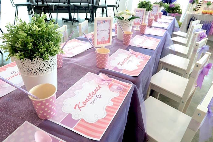 Place settings from a Floral Sofia The First Birthday Party on Kara's Party Ideas | KarasPartyIdeas.com (21)