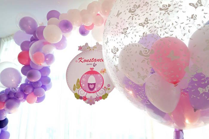 Balloons from a Floral Sofia The First Birthday Party on Kara's Party Ideas | KarasPartyIdeas.com (20)