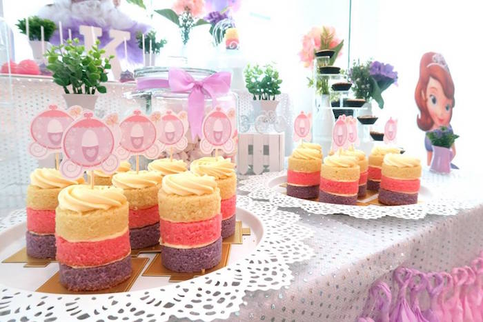 Mini cakes from a Floral Sofia The First Birthday Party on Kara's Party Ideas | KarasPartyIdeas.com (18)