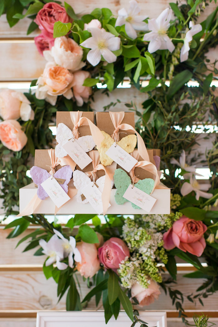 Butterfly-adorned favor boxes from a Garden Baby Shower on Kara's Party Ideas | KarasPartyIdeas.com (22)