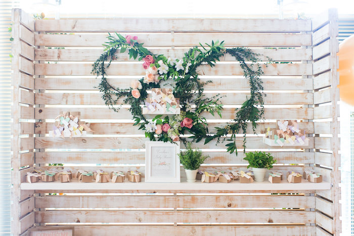 Wood wall with floral garden piece from a Garden Baby Shower on Kara's Party Ideas | KarasPartyIdeas.com (19)