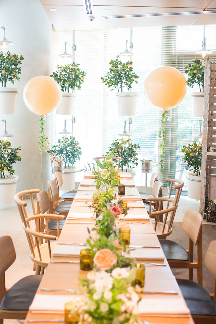Guest table from a Garden Baby Shower on Kara's Party Ideas | KarasPartyIdeas.com (39)