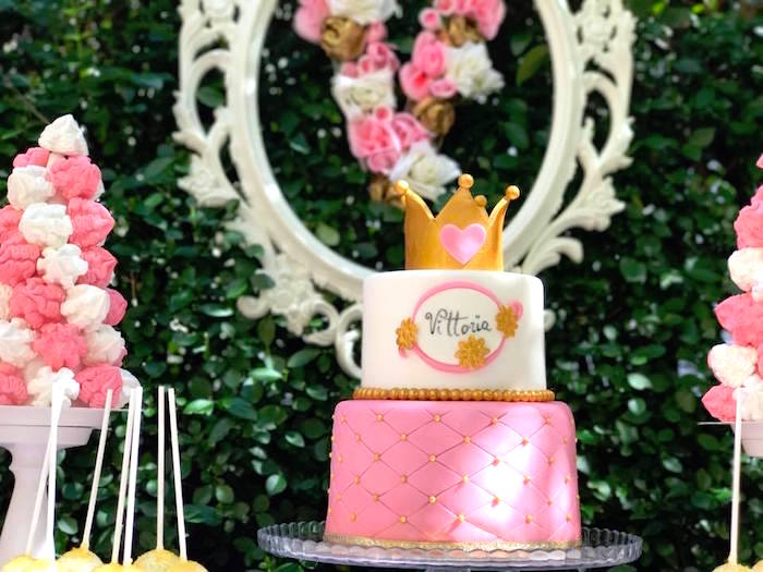 Crowned cake from a Garden Princess Birthday Party on Kara's Party Ideas | KarasPartyIdeas.com (10)