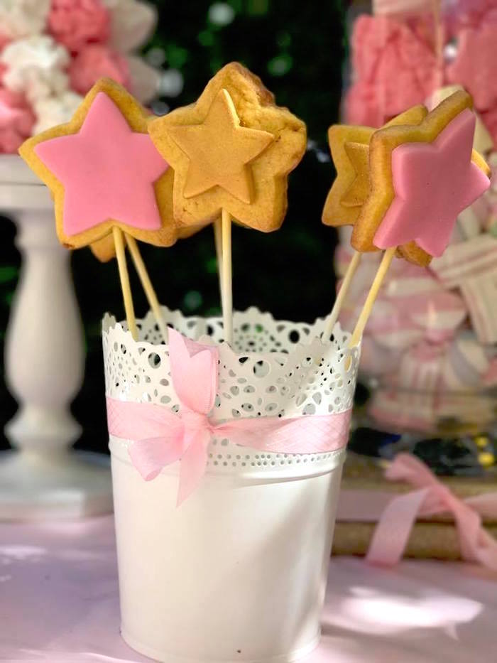 Star cookie pops from a Garden Princess Birthday Party on Kara's Party Ideas | KarasPartyIdeas.com (8)