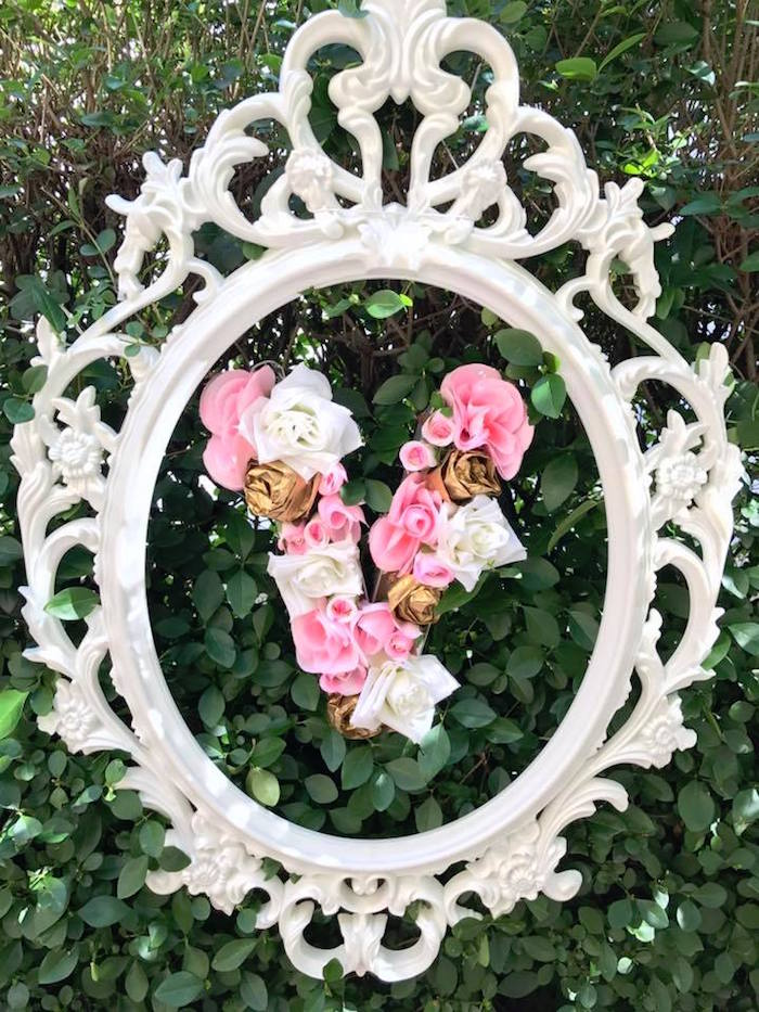 Ornate framed flower letter from a Garden Princess Birthday Party on Kara's Party Ideas | KarasPartyIdeas.com (7)