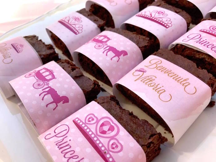 Princess labeled brownies from a Garden Princess Birthday Party on Kara's Party Ideas | KarasPartyIdeas.com (15)