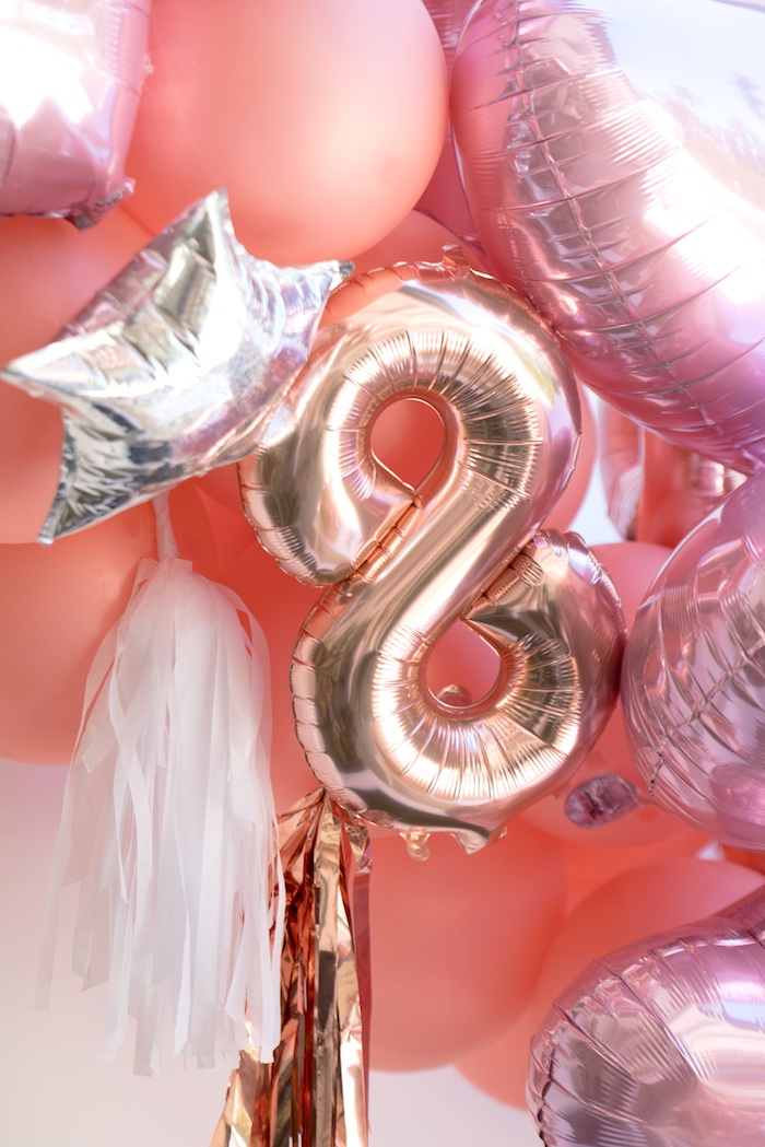 Mylar balloons with tassel tails from a Glam Pop Star Birthday Party on Kara's Party Ideas | KarasPartyIdeas.com (16)