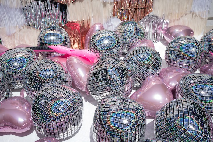 Inflatable disco balls + balloons from a Glam Pop Star Birthday Party on Kara's Party Ideas | KarasPartyIdeas.com (9)