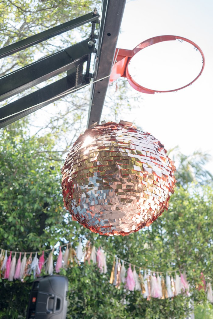 Disco ball pinata from a Glam Pop Star Birthday Party on Kara's Party Ideas | KarasPartyIdeas.com (8)