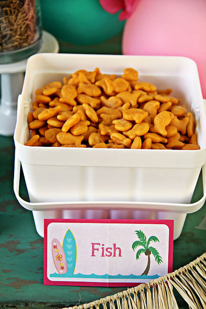 Goldfish crackers from a Hawaiian Luau Birthday Party on Kara's Party Ideas | KarasPartyIdeas.com (12)