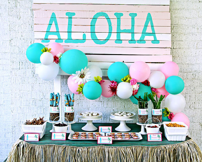 Dessert Table From A Hawaiian Luau Birthday Party On Kara S Ideas Karaspartyideas