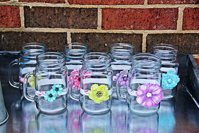 Mason jar mugs adorned with flowers from a Hawaiian Luau Birthday Party on Kara's Party Ideas | KarasPartyIdeas.com (6)