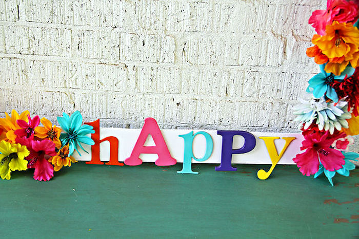 """Happy"" lettering from a Hawaiian Luau Birthday Party on Kara's Party Ideas 