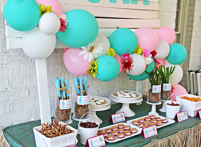 Floral balloon banner + dessert tablescape from a Hawaiian Luau Birthday Party on Kara's Party Ideas | KarasPartyIdeas.com (22)