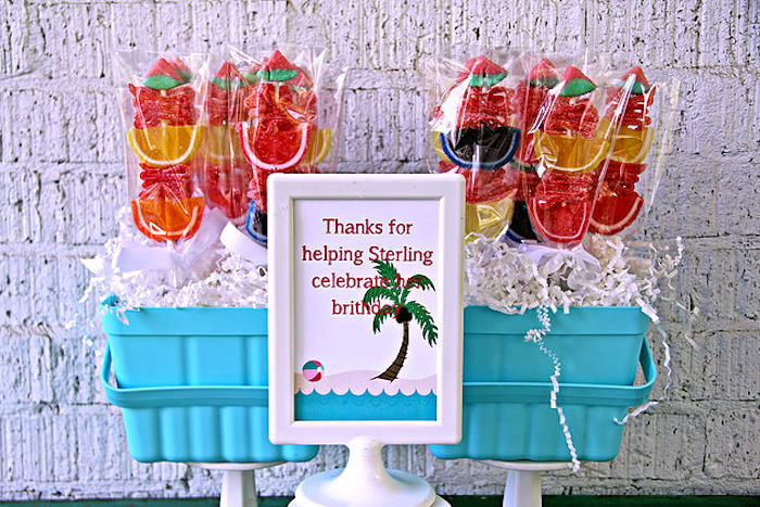 Candy kabob favors from a Hawaiian Luau Birthday Party on Kara's Party Ideas | KarasPartyIdeas.com (19)