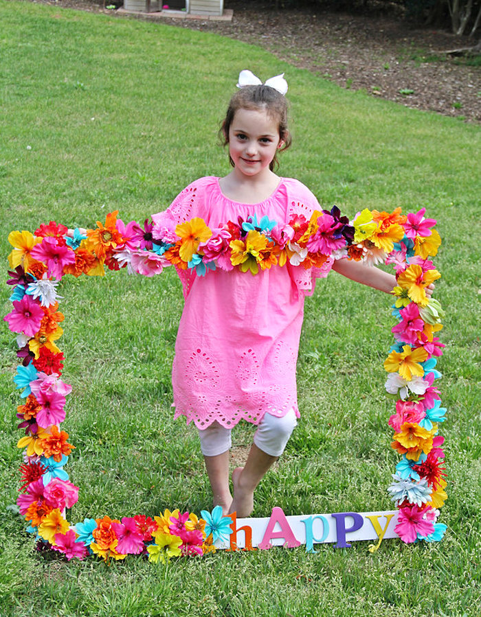 Floral photo frame from a Hawaiian Luau Birthday Party on Kara's Party Ideas | KarasPartyIdeas.com (18)