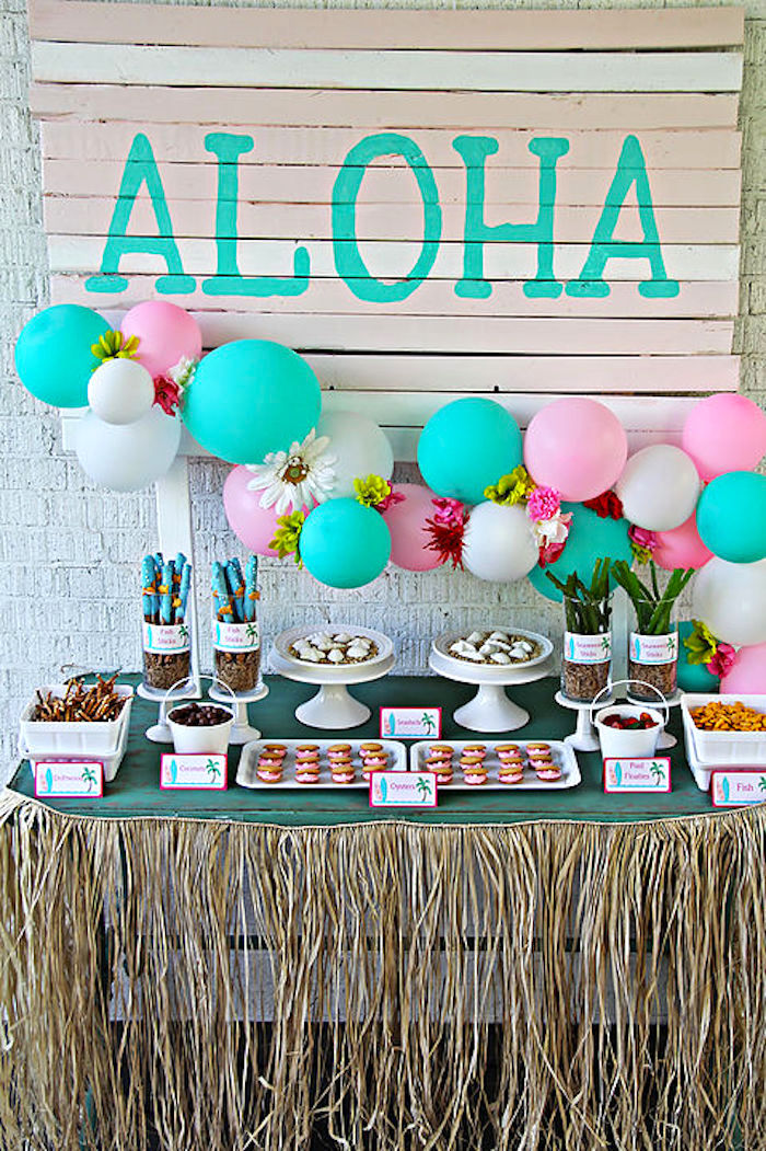 Dessert Table From A Hawaiian Luau Birthday Party On Karas Ideas