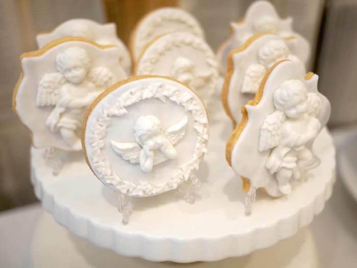 Angelic cookies from a Heavenly Angel Baptism Party on Kara's Party Ideas | KarasPartyIdeas.com (10)