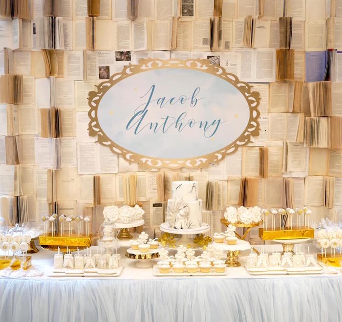 Angelic dessert table from a Heavenly Angel Baptism Party on Kara's Party Ideas | KarasPartyIdeas.com (8)