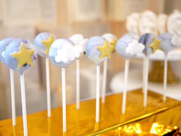 Cloud and star cake pops from a Heavenly Angel Baptism Party on Kara's Party Ideas | KarasPartyIdeas.com (6)
