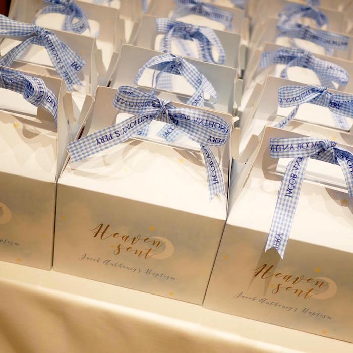 Heaven sent, gable, favor boxes from a Heavenly Angel Baptism Party on Kara's Party Ideas | KarasPartyIdeas.com (17)
