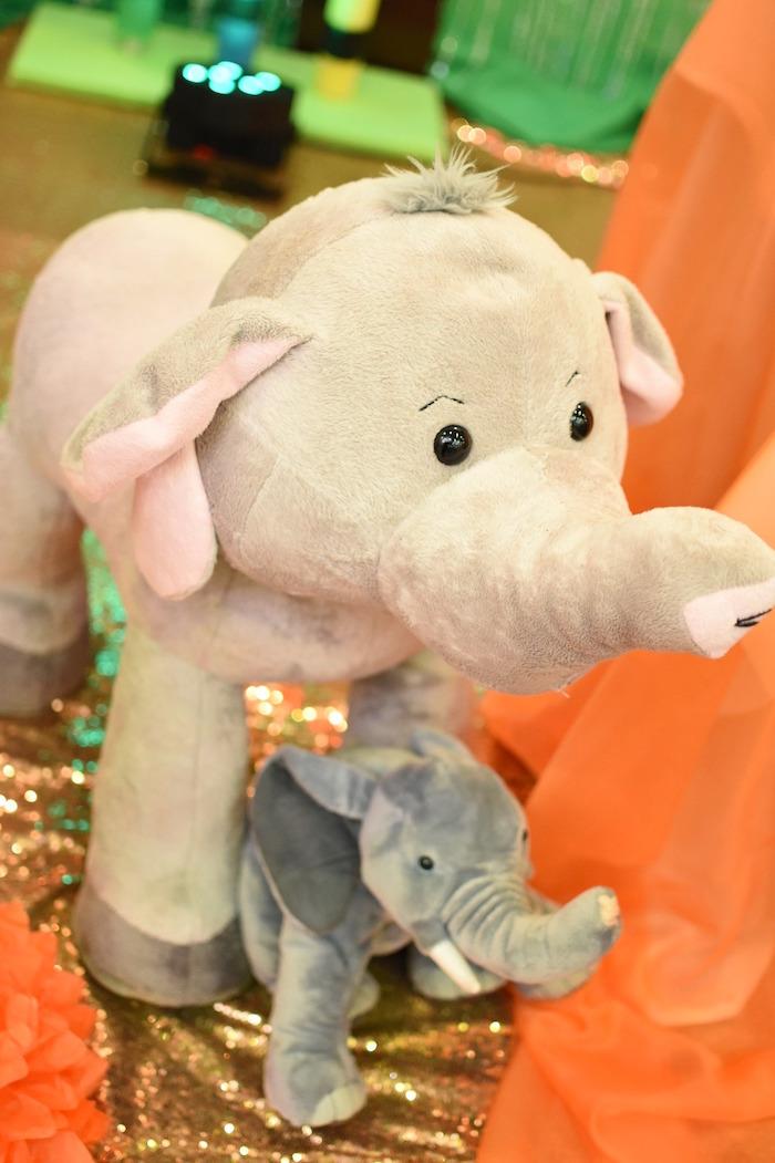 Plush mama and baby elephants from a Jungle Safari Birthday Party on Kara's Party Ideas | KarasPartyIdeas.com (15)