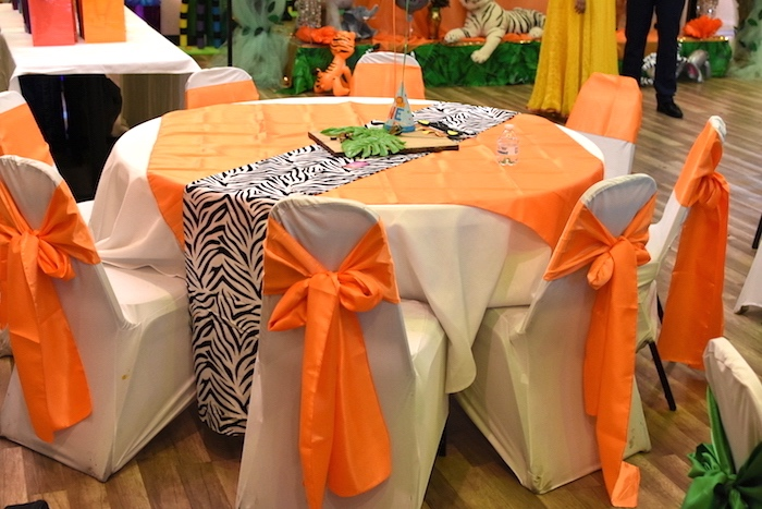 Guest table from a Jungle Safari Birthday Party on Kara's Party Ideas | KarasPartyIdeas.com (13)