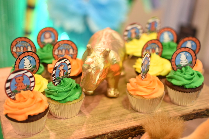 Safari animal cupcakes from a Jungle Safari Birthday Party on Kara's Party Ideas | KarasPartyIdeas.com (11)