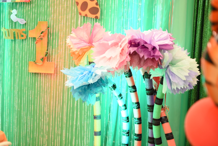 Pool noodle jungle trees from a Jungle Safari Birthday Party on Kara's Party Ideas | KarasPartyIdeas.com (9)