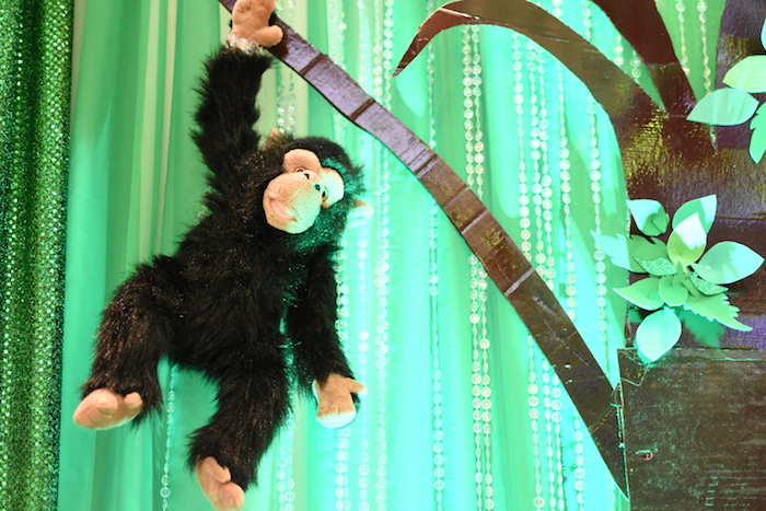 Hanging plush monkey from a Jungle Safari Birthday Party on Kara's Party Ideas | KarasPartyIdeas.com (8)