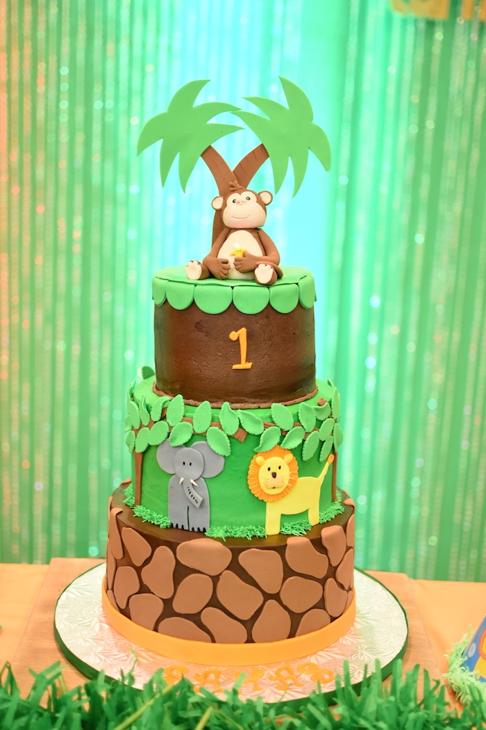 Jungle Safari Cake from a Jungle Safari Birthday Party on Kara's Party Ideas | KarasPartyIdeas.com (7)