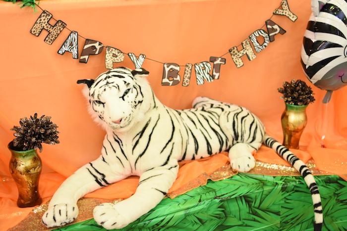 Animal print Happy Birthday banner from a Jungle Safari Birthday Party on Kara's Party Ideas | KarasPartyIdeas.com (6)