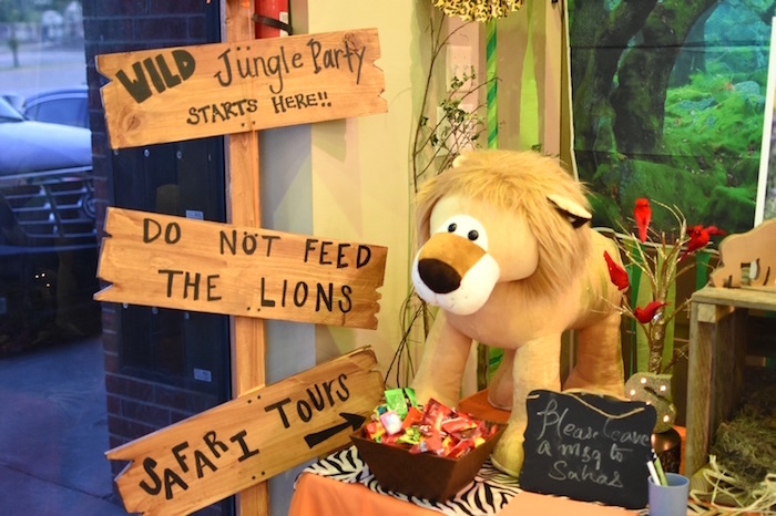 Wooden sign from a Jungle Safari Birthday Party on Kara's Party Ideas | KarasPartyIdeas.com (24)