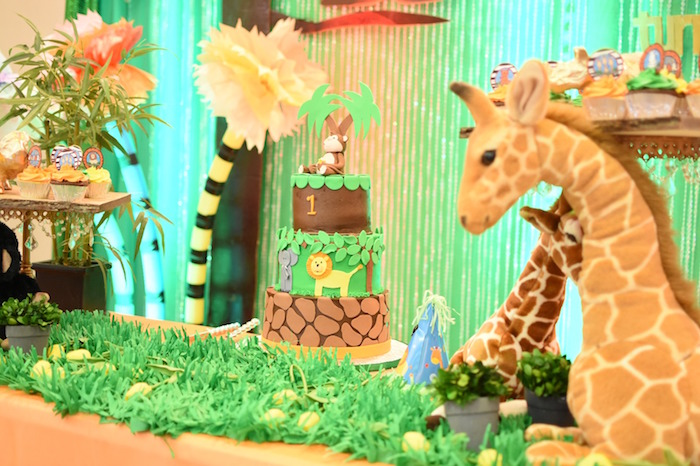 Cakescape from a Jungle Safari Birthday Party on Kara's Party Ideas | KarasPartyIdeas.com (19)