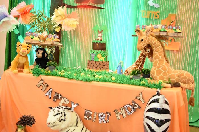 Cake tablescape from a Jungle Safari Birthday Party on Kara's Party Ideas | KarasPartyIdeas.com (18)