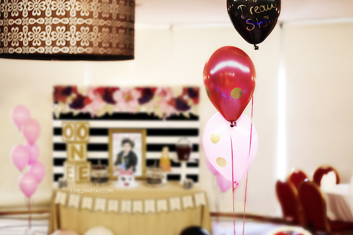 Glam balloons from a Kate Spade Inspired 1st Birthday Party on Kara's Party Ideas | KarasPartyIdeas.com (11)