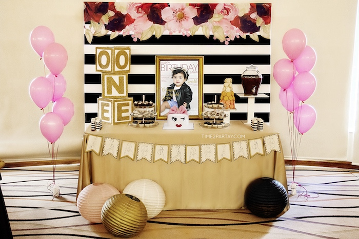 Kate Spade Dessert Table from a Kate Spade Inspired 1st Birthday Party on Kara's Party Ideas | KarasPartyIdeas.com (20)