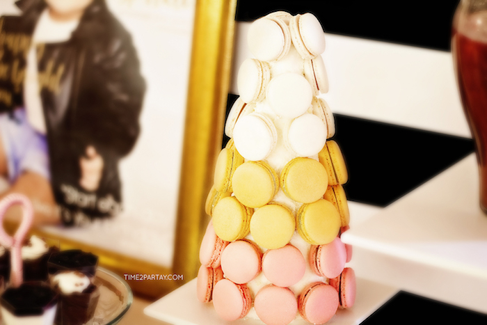 Macaron tower from a Kate Spade Inspired 1st Birthday Party on Kara's Party Ideas | KarasPartyIdeas.com (14)