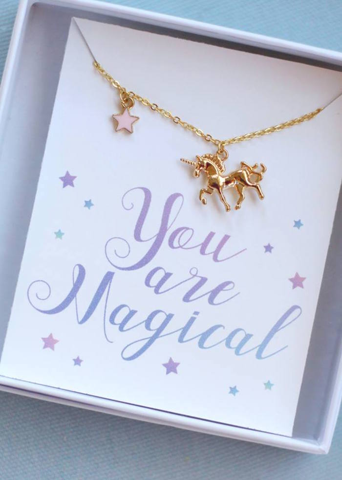 Unicorn necklace from a Magical Unicorn Art Birthday Party on Kara's Party Ideas | KarasPartyIdeas.com (32)