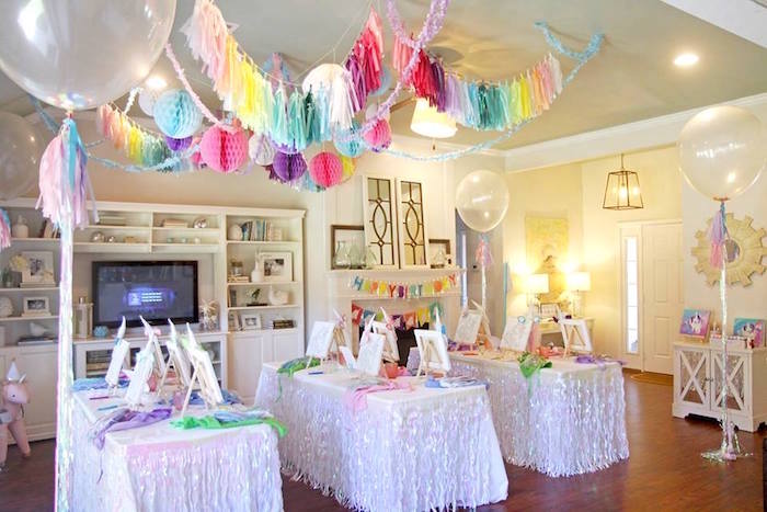 Unicorn art studio tables from a Magical Unicorn Art Birthday Party on Kara's Party Ideas | KarasPartyIdeas.com (31)