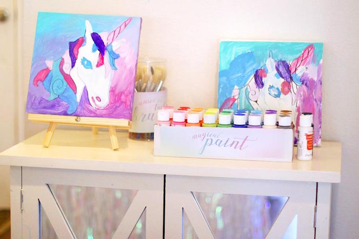 Paints from a Magical Unicorn Art Birthday Party on Kara's Party Ideas | KarasPartyIdeas.com (30)