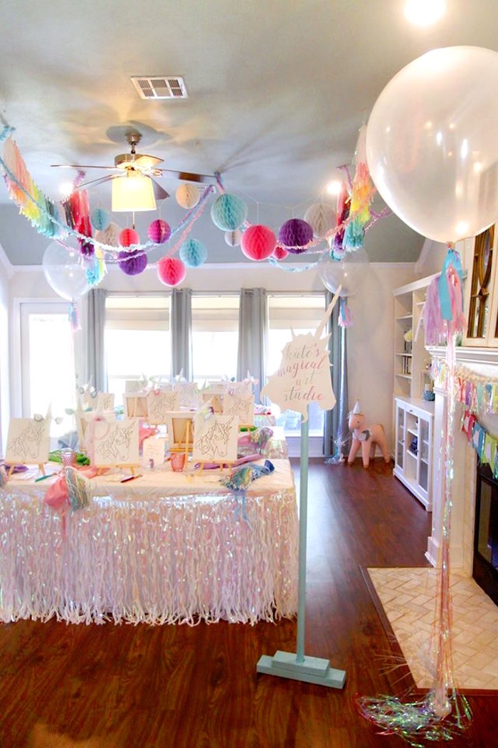 Art tables from a Magical Unicorn Art Birthday Party on Kara's Party Ideas | KarasPartyIdeas.com (27)