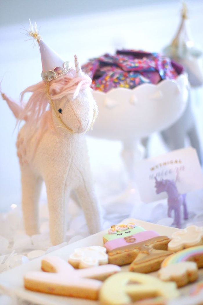 Unicorn decoration from a Magical Unicorn Art Birthday Party on Kara's Party Ideas | KarasPartyIdeas.com (26)