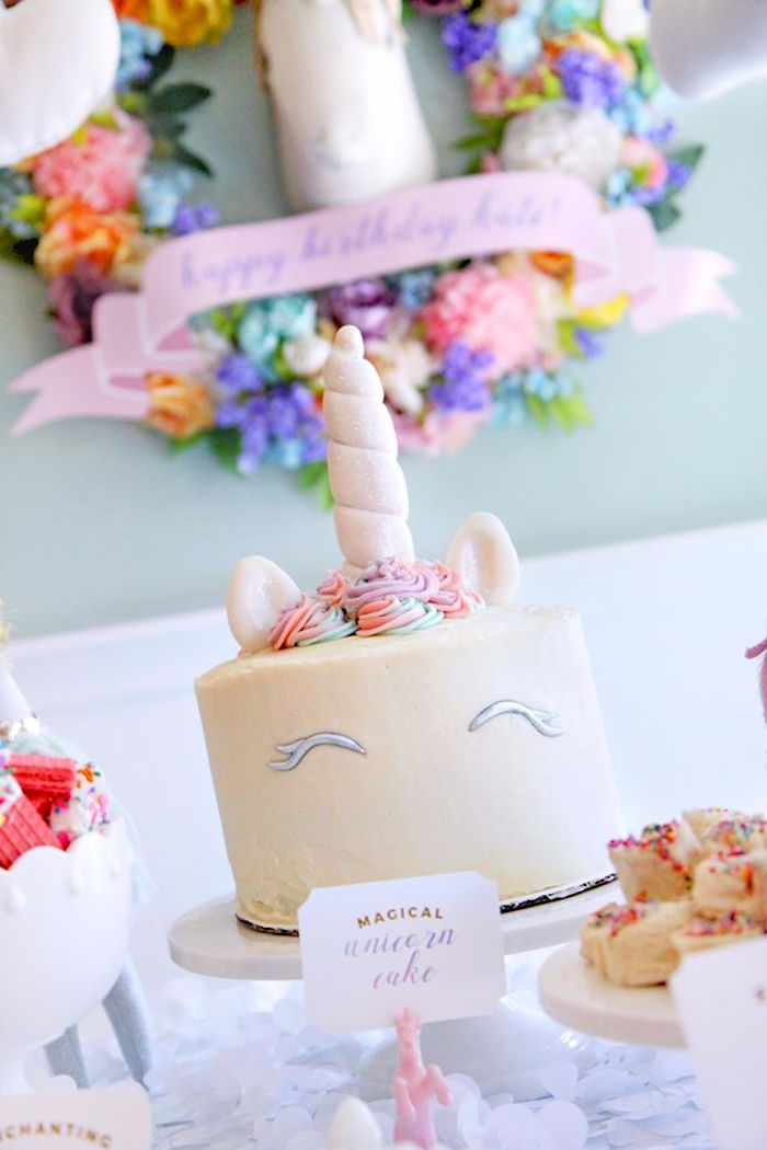 Unicorn cake from a Magical Unicorn Art Birthday Party on Kara's Party Ideas | KarasPartyIdeas.com (24)