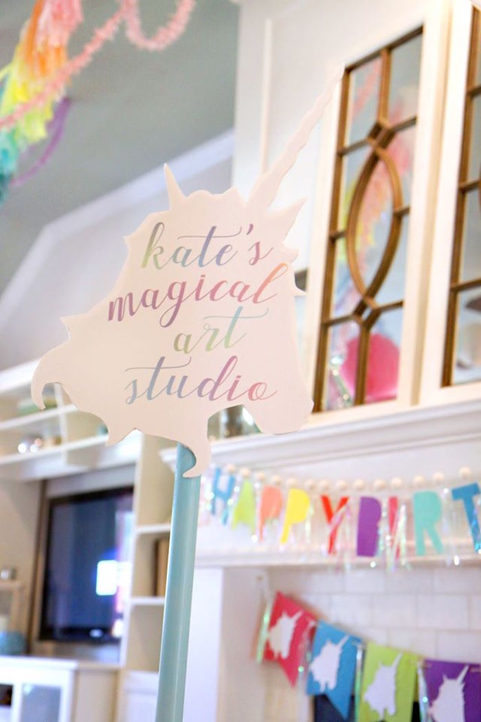 Art studio signage from a Magical Unicorn Art Birthday Party on Kara's Party Ideas | KarasPartyIdeas.com (23)