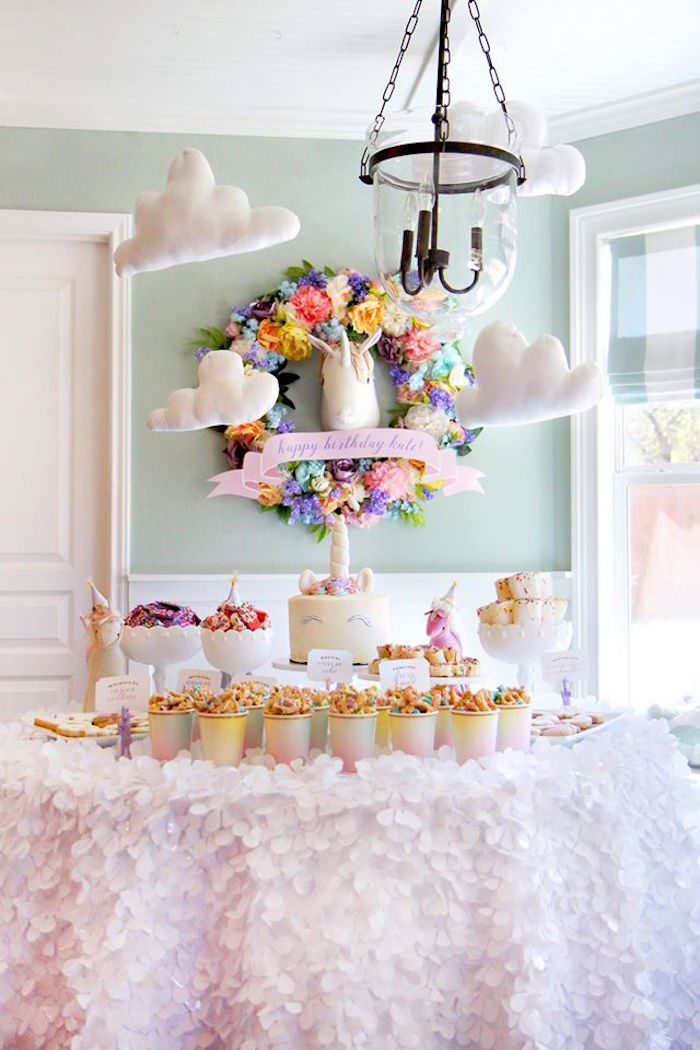 Unicorn themed dessert table from a Magical Unicorn Art Birthday Party on Kara's Party Ideas | KarasPartyIdeas.com (22)