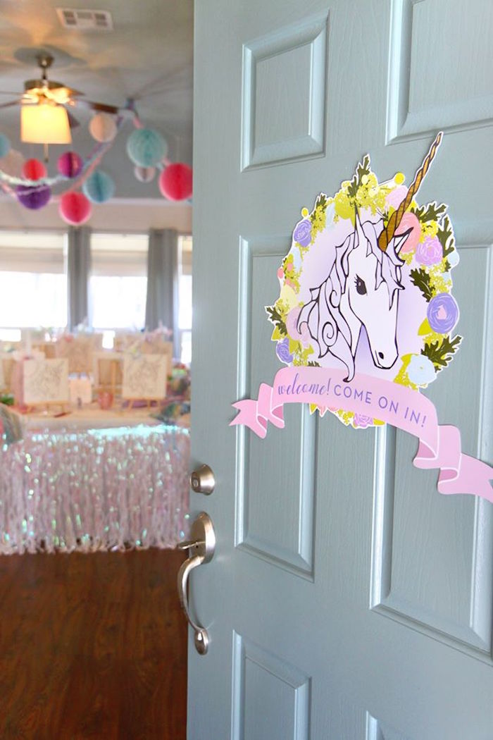 Unicorn welcome sign from a Magical Unicorn Art Birthday Party on Kara's Party Ideas | KarasPartyIdeas.com (19)